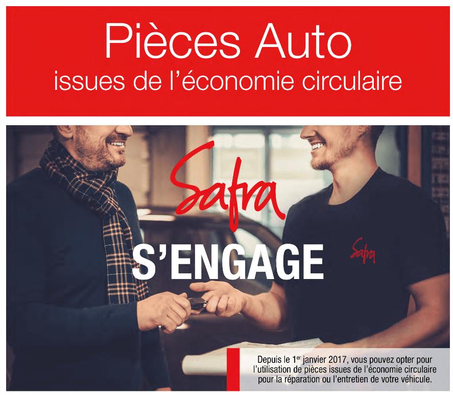 Affiche présentant l'économie circulaire utilisée chez SAFRA Automobile