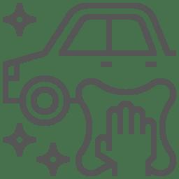 Icône représentant une main qui nettoie une voiture